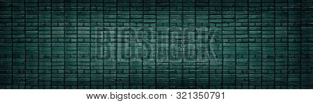 Dark Teal Brick Wall Wide Texture. Color Cement Block Masonry Horizontal Panorama. Retro Grunge Back