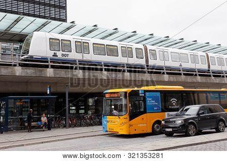 Copenhagen, Denmark - September 4, 2019: Orestad Metro Station With A Subway Train.