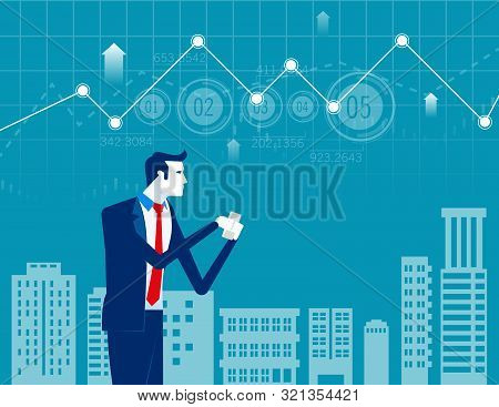 Businessman Working Online On Smartphone. Concept Business Vector Illustration. Technology With Smar