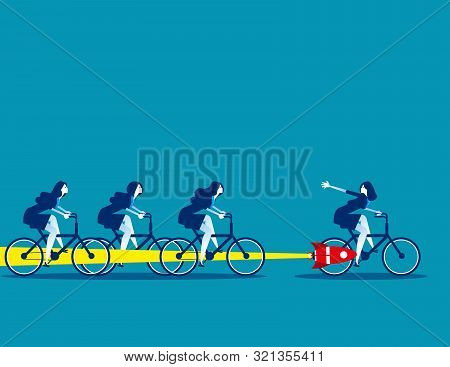 Buisness Team And Competition, Concept Business Vector Illustration, Flat Business Cartoon, Overcome