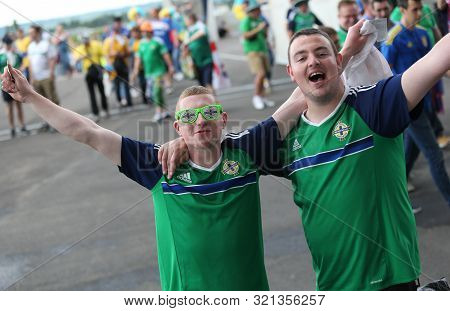 Lyon, France - June 16, 2016: Northern Irish Fans Show Their Support Before The Uefa Euro 2016 Game