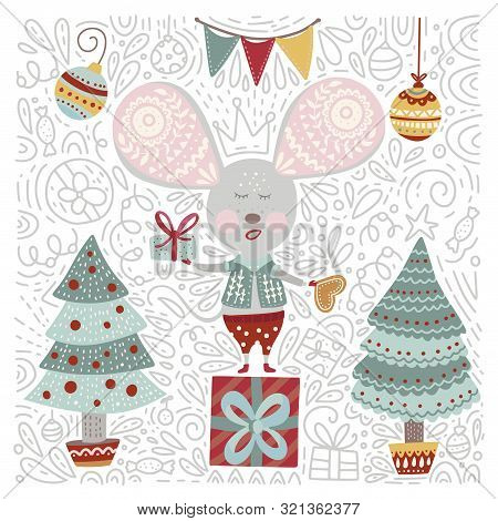 Chirstmas Funny Cartoon Hand Drawn Mouse Card In A Flat And Doodle Style. Winter Vector Poster With