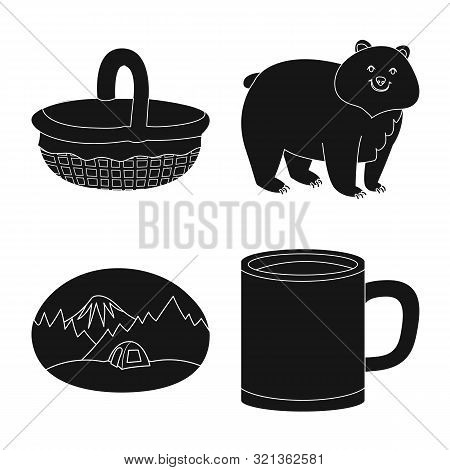 Isolated Object Of Barbeque And Rest Logo. Set Of Barbeque And Nature Stock Vector Illustration.