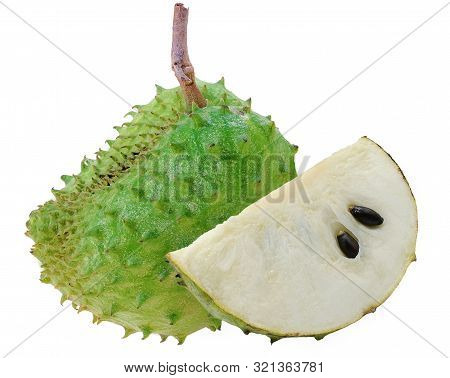 Soursop, Prickly Custard Apple Isolated On White