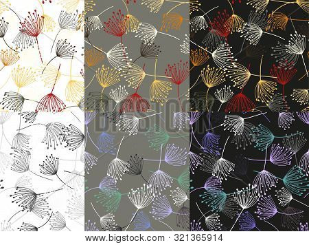 Vintage Pattern. Fashion Seamless Pattern. Fabric Texture. Vector Template Set. Vector Line Design.