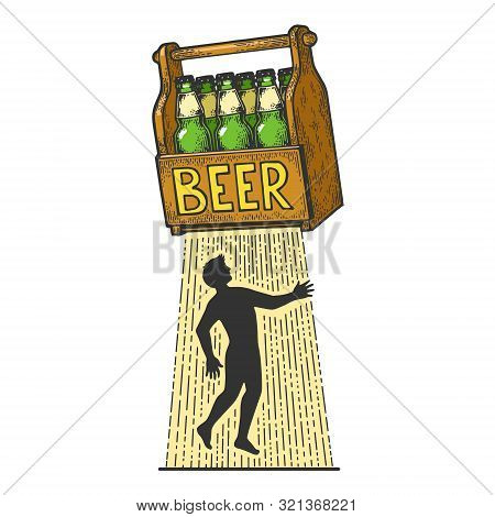 Beer Kidnaps Human Person Color Sketch Engraving Vector Illustration. Tee Shirt Apparel Print Design