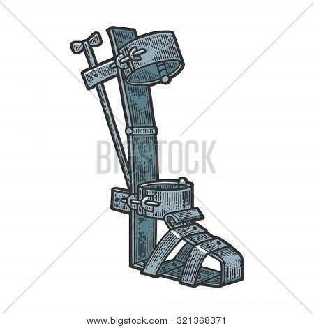 Spanish Boot Medieval Torture Device Color Sketch Engraving Vector Illustration. Tee Shirt Apparel P