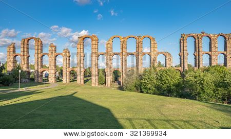 Panoramic View Of The Famous Aqueduct Called Los Milagros, Located In Mérida, Capital Of The Ancient