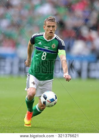 Lyon, France - June 16, 2016: Steven Davis, Captain Of Northern Ireland In Action During Uefa Euro 2