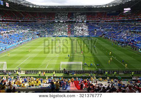 Lyon, France - June 16, 2016: Panoramic View Of Stade De Lyon Stadium (parc Olympique Lyonnais Stadi