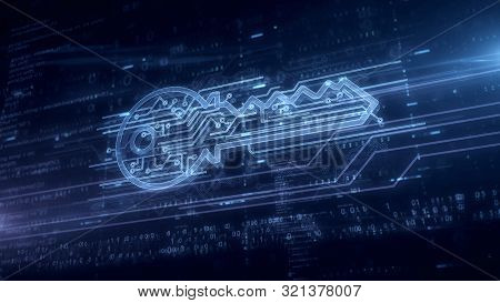 Cyber Safety With Key Symbol Hologram 3d Illustration. Modern Concept Of Computer Security, Encrypti