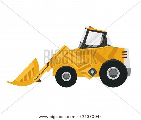 Bulldozer Quarry Machine. Stone Wheel Yellow Digger. Backhoe Front Loader Truck. Work Tractor Excava