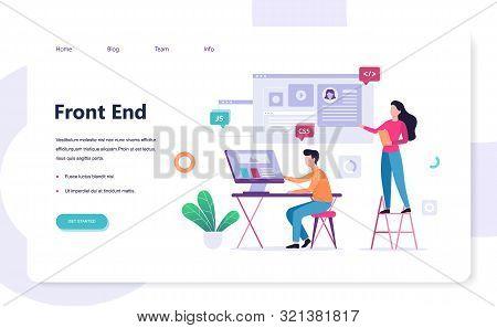Frontend Development Web Banner Concept. Website Interface