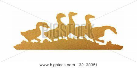 Flock Wooden Ducks