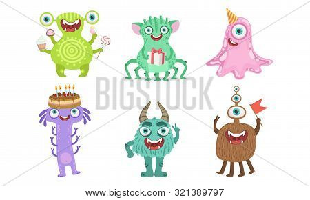 Cute Happy Monsters Set, Funny Friendly Cartoon Mutant Characters, Childish Birthday Party Design El