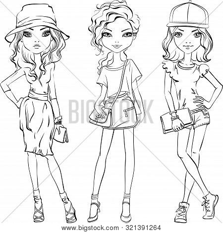 Cute Beautiful Girls In T-shirt And Skirt Or Shorts, Hats And With Bags. Line Art