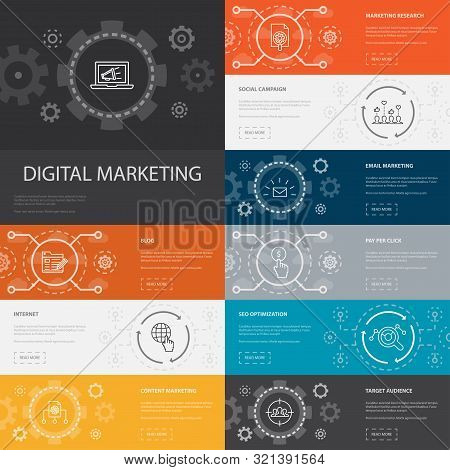 Digital Marketing Infographic 10 Line Icons Banners.internet, Marketing Research, Social Campaign, P