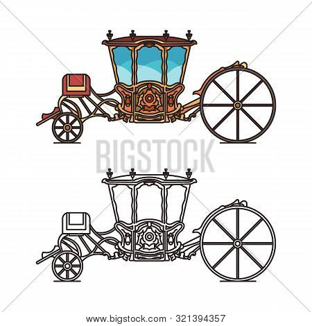 Icons of retro buggy or chariot for weddings poster