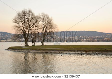 Little Island In The Middle Of Zurich Lake