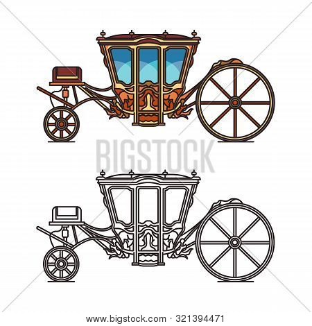 Vintage royal chariot or retro buggy for wedding poster