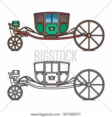 Vintage chariot for princess or cartoon carriage poster