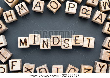 Word Mindset Composed Of Wooden Cubes With Letters,  Way Of Thinking Concept, Scattered Around The C
