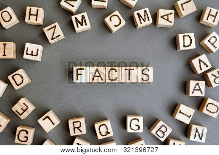 The Word Fact Wooden Cubes With Burnt Letters, Find And Use Facts To Calculate Lies, Gray Background