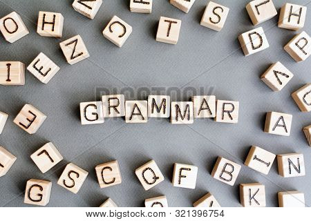 The Word Grammar Wooden Cubes With Burnt Letters, Study Of Grammar Of Different Languages,  Gray Bac