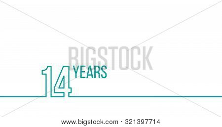 14 Years Anniversary Or Birthday. Linear Outline Graphics. Can Be Used For Printing Materials, Brouc