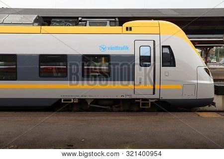 Gothenburg, Sweden - August 27, 2018: Vasttrafik Train In Gothenburg Central Station. Gothenburg Is