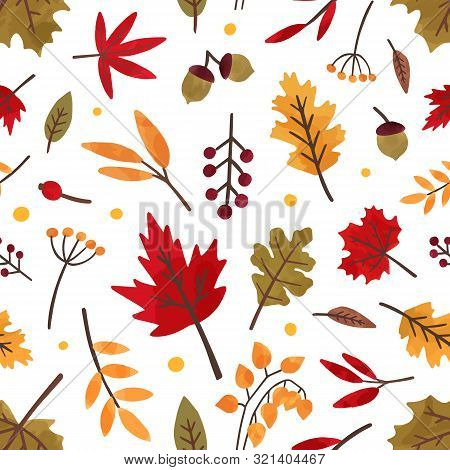 Autumn Foliage Hand Drawn Vector Seamless Pattern. Different Tree Leaves And Berries Decorative Text
