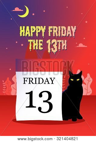 Illustration Of A Black Cat Sitting Next To A Calendar Date 13 On A Mysterious Red Background