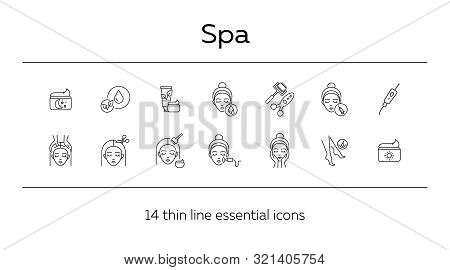 Spa Icon Set. Female Head, Massage, Cream. Skin Care Concept. Can Be Used For Topics Like Beauty Or