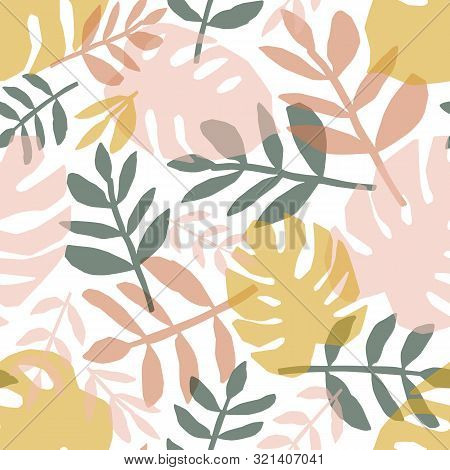 Tropical Foliage Hand Drawn Vector Seamless Pattern. Multicolor Leaves Silhouettes Decorative Textur