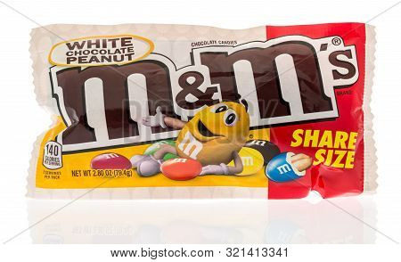Winneconne, Wi - 10 September 2019:  A Bag Of Mms White Chocolate Candy Peanut On An Isolated Backgr