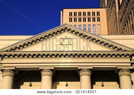 The Six-pointed Jewish Star Of David On The Facade Of The Synagogue, A Symbol Of The Jews. Dnipro Ci