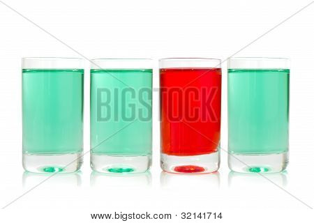 Glasses With Green And Red Liquid