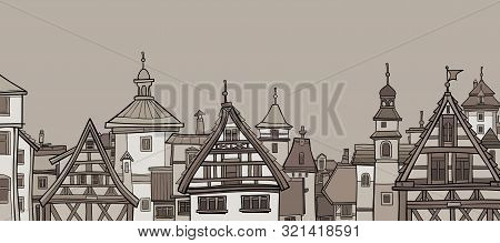Graphic Drawing Of City With Half-timbered Houses