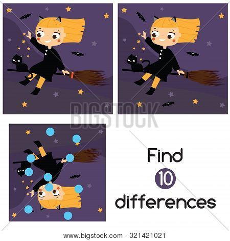Halloween Witch Fly On Broom. Find The Differences Educational Children Game. Kids Activity Fun Page