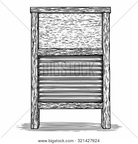 Woodcut Illustration Of An Antique Wooden Washboard.