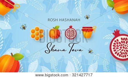 Jewish New Year, Rosh Hashanah Greeting Card. Vector Illustration With Apple, Pomegranate, Honey Gol