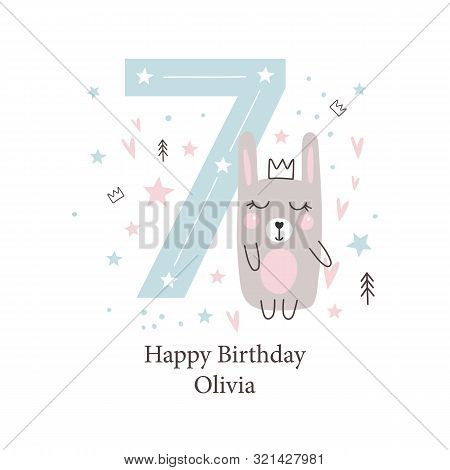 Seventh  Birthday Greetings Card With A Cute Rabbit. Kids Party With Animals. Vector