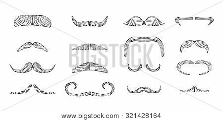 Set Of Isolated Doodle Style Moustache Sketch In Vector Format. Handlebar Mexican Black Icon. Clipar