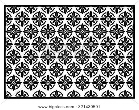Background In The Shape Of A Leaf Carving Pattern, And A Combination Of Black And White.