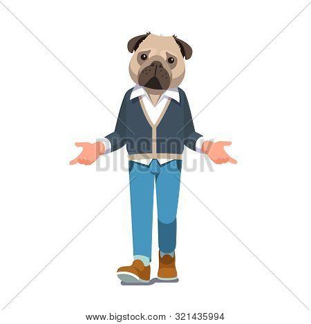 Man With Pug Dog Head Walking Forward