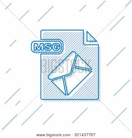 Blue Line Msg File Document. Download Msg Button Icon Isolated On White Background. Msg File Symbol.