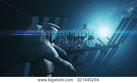 Spaceman in spacesuit flies at blue and black International Space Station lit by starlight. 3d render animation. Science and technology concept. Elements of this media furnished by NASA