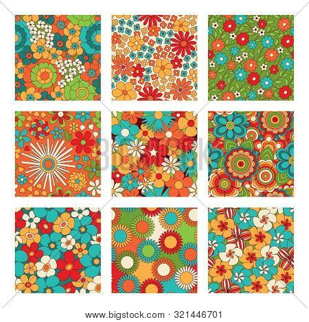 Vintage Floral Seamless Patterns Set. Psychedelic Or Hippie Style Backgrounds. Abstract Flowers And