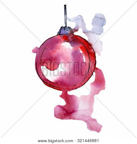 Christmas Winter Holiday Symbol In A Watercolor Style Isolated. Aquarelle Christmas Card For Backgro