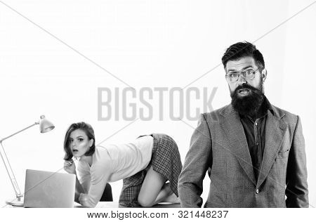 Boss Feeling Shock. Shocked Boss And His Sexy Tempting Subordinate On Desktop. Caucasian Boss And Se